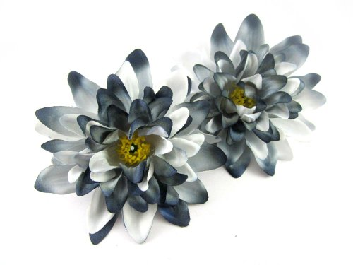 ((2) Black White Silk Dahlia Flower Heads - 4