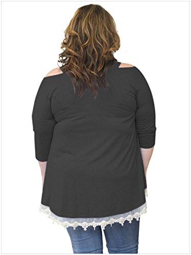 Dnudes 4 Trim Chemise Shirt Chemisier Blouse Dnude T Dentelle Trapze Cold Shirt 3 Haut paules Manches Noir Top Size Plus paule Shoulder qtSzt