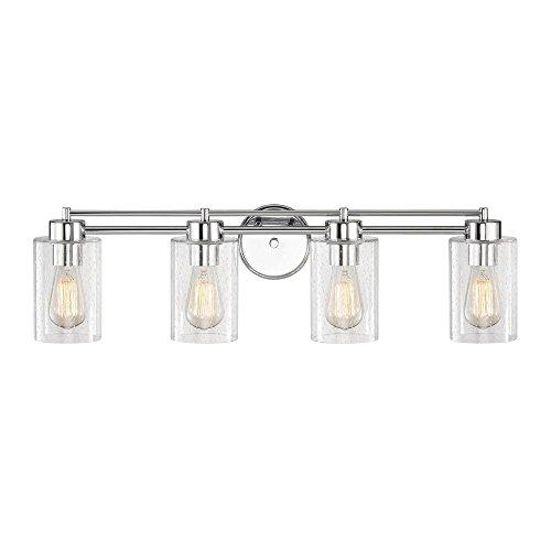 Seeded Glass Bathroom Light Chrome 4 Lt