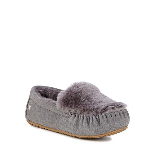 Australia Fur Moccasins Cairns Reverse Slippers Womens Charcoal EMU Sheepskin fUPxqSU