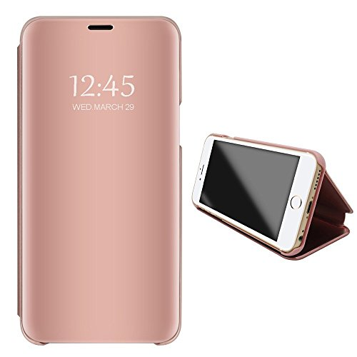 Price comparison product image Apple iPhone 7 8 Mirror Case, Metal Electroplate Clear View Flip Leather Holder Phone Cover with Kickstand Hard Protective Anti-Scratch Cover for Apple iPhone 7 Plus 8 Plus (Rose Gold, iPhone 8)