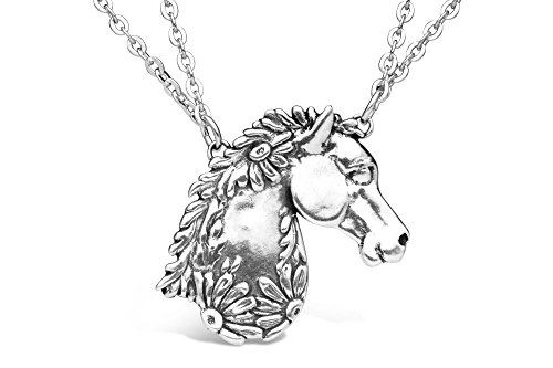 (Silver Spoon Jewelry Horse Pendant Necklace for Women, Vintage Antique Style Statement Necklace, Silver Plated, Adjustable Double Chain, 16-18