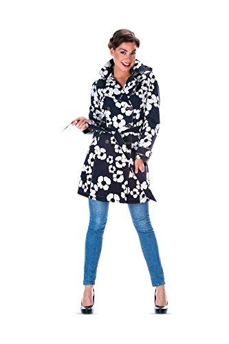 HappyRainyDays - Damen | Regenmantel, Trenchcoat mit Kapuze Beata schwarz / kit, Größe XL