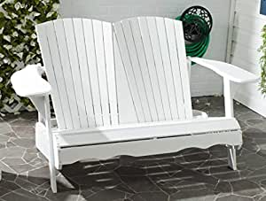 Liquid Pack Solutions Oval & Heart Style Garden Bench in White Color Made Acacia Wood Seating Capacity 4