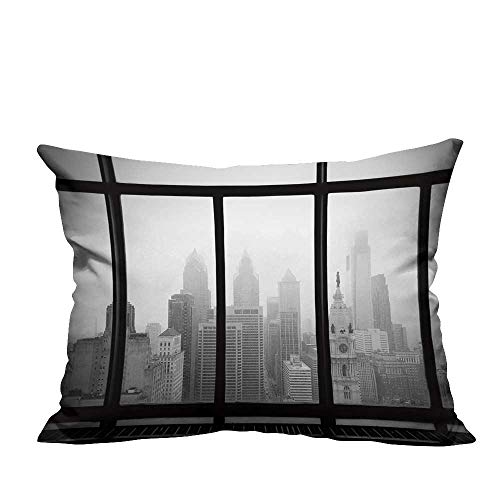 YouXianHome Household Pillowcase Philadelphia City Rooftop View Through Window Perfect for Travel(Double-Sided Printing) 19.5x60 inch -
