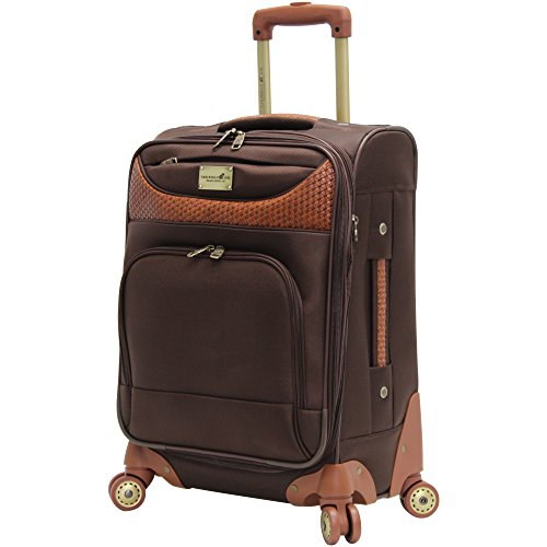 Caribbean Joe 20 Inch 8 Wheel Spinner Carry-On, Chocolate Br