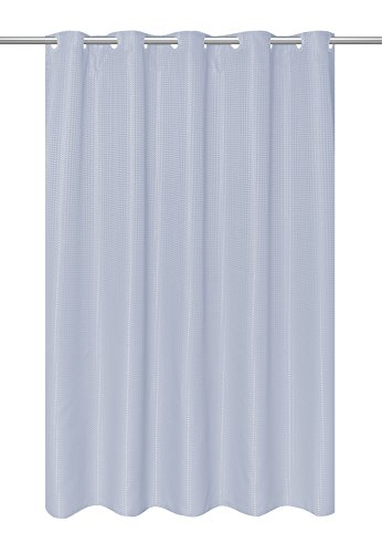 Carnation Home Fashions EZ-on Waffle Weave Fabric Shower Curtain with Built in Snap Off Liner, Spa (Carnation Home Fashions Waffle)