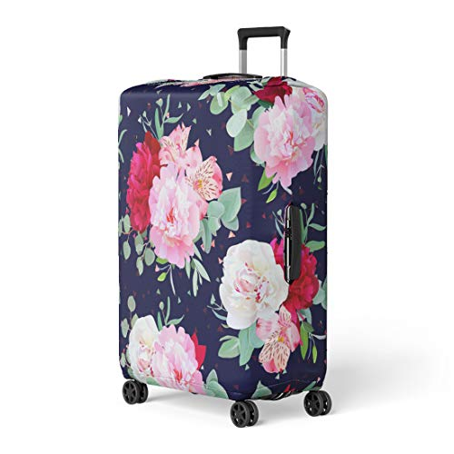 (Semtomn Luggage Cover Navy Floral Burgundy Red and Pink Peony Alstroemeria Lily Travel Suitcase Cover Protector Baggage Case Fits 22-24 Inch)
