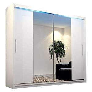 CHECO HOME AND GARDEN BIG STYLISH SLIDING WARDROBE 204cm !! BIG MIRRORS !! LED !! MANY COLOURS !! (A White, With Led)