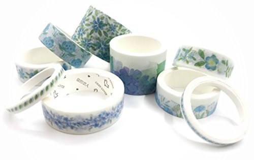 Blue Floral washi Tape Set/Japanese Masking Tape. 9 Rolls for Arts and Crafts, Scrapbooking, Wall Paper Borders, Home Decor, Cards, and DIY deocrating