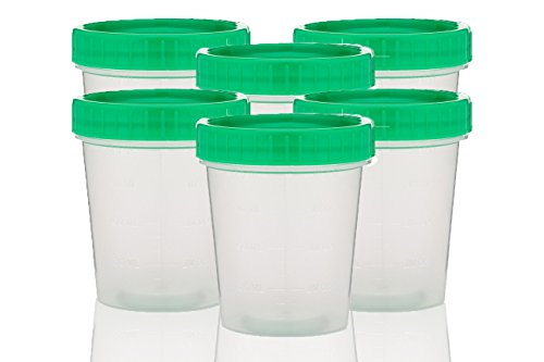 Non-Sterile Specimen Cups, Set of 6, Screw Cap, Tamper Evident, 4 ()