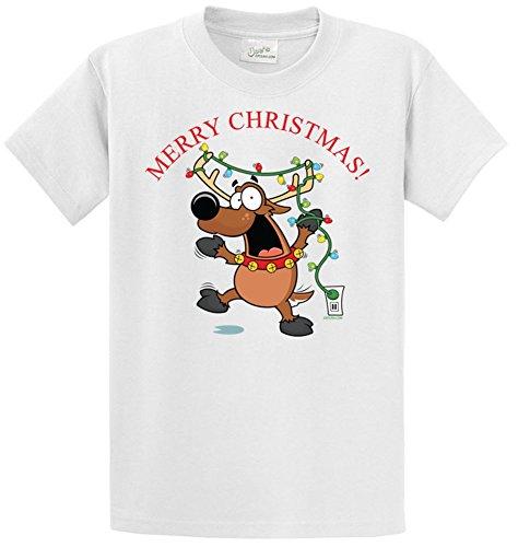 Joe's USA(tm) - Santa's Funny Reindeer- Christmas White T-Shirt (Grinch Halloween Costume)