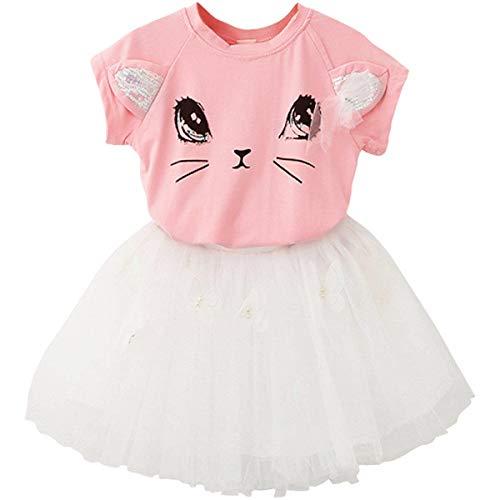 2Bunnies Girl Cat 3D Sequin Bow Sparkle Tutu Butterfly Tulle Skirt Dress Sets (5, Pink Top White Skirt)
