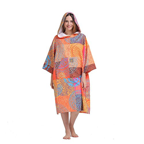 Surfing Swimming Robe, Light Weight Wetsuit Changing Towel Poncho with Hood ()