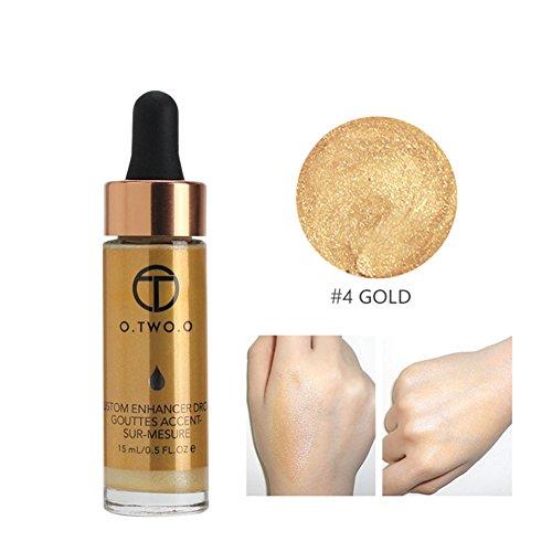 O.OWO.O Face Glow Liquid Highlighter Waterproof Contour Make Up Glitter Brighten Shimmer Highlighters Makeup (04-GOLD)