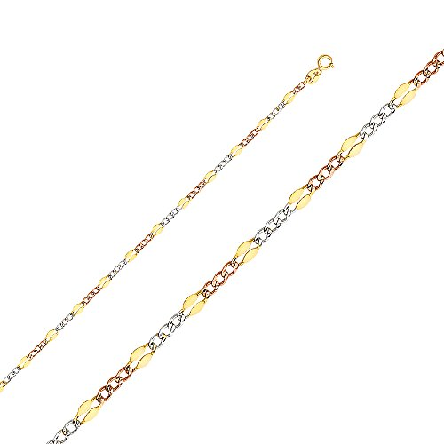 - Ioka - 14K Tri Color Solid Gold 3.2mm Stamped Figaro 3+1 Chain Necklace with Spring Ring Clasp - 24