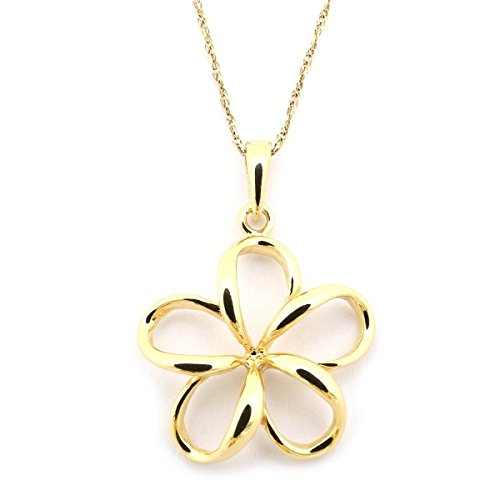 Beauniq 14k Yellow Gold Hawaiian Flower Pendant Necklace, 15 Inches