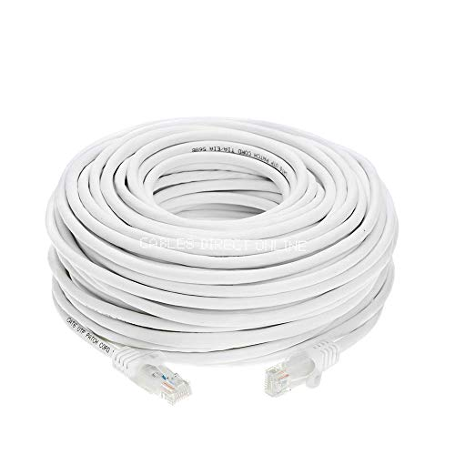 Cables Direct Online 75 feet Cat5E White Ethernet Patch Cable Cat5 RJ45 for Networking, PS4, Xbox, Modem, Router, PC, Laptop, Smart TV