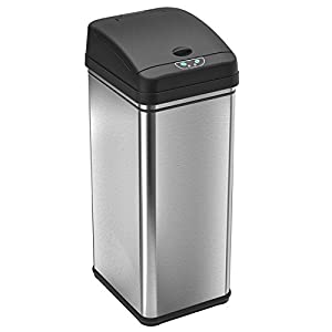 iTouchless 13 Gallon Stainless Steel Automatic Trash Can with Odor Control System, Big Lid Opening Sensor Touchless Kitchen Trash Bin (Base Version – No AC Adapter)