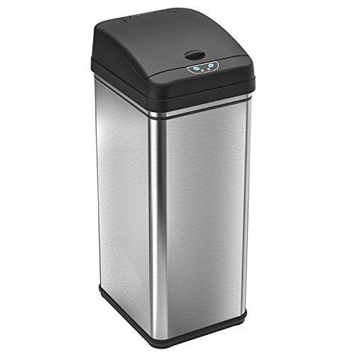 iTouchless 13 Gallon Stainless Steel Automatic Trash Can with Odor Control System, Big Lid Opening Sensor Touchless Kitchen Trash Bin (Base Version - No AC Adapter) (Hands Trash Free Can)