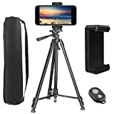 Phone Tripod,PEYOU [3 in 1] 62' Aluminum Camera Tripod + Bluetooth Remote Control Shutter + Universal Cell Phone Holder Mount Compatible for iPhone Xs Max XR X 8 7 6 6s Plus,for Galaxy Note 9 8 S9 S8