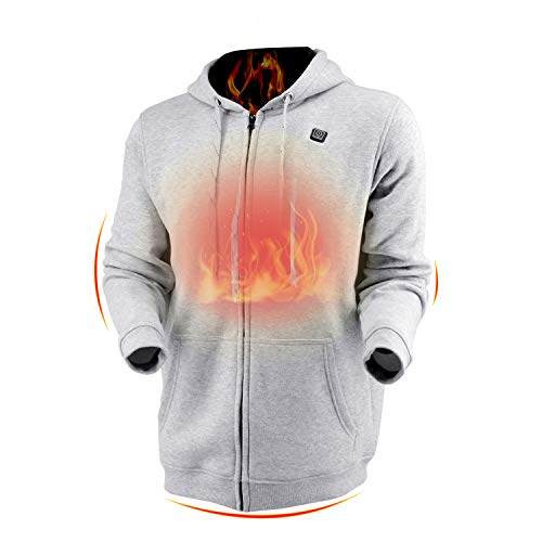 Dc Full Zip Sweatshirt - Dr.Qiiwi Men's & Women's Outdoor Heated Hoodie, Soft Lightweight Full-Zip Hooded Jacket for Cold Weather with Quick-Heating System