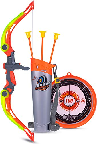 wishkey sports super archery bow and arrow set with dart target board, colourful with 3 suction cup tip arrows-Orange
