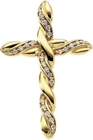 Pendentif Croix-Or jaune 14 carats avec diamants bruts 37,5 x 24,5 mm)-JewelryWeb