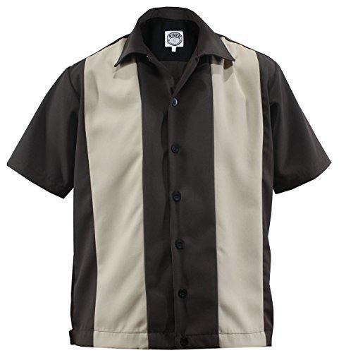 Lounge Camisa Bolos Panel Rockabilly Tone beachwear Aloha Two Beige Gabardine 50 Camiseta nbsp;vintage Retro Worker Dunkelbraun Double SzITxqU