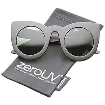 zeroUV - Womens Bold High Point Tinted Lens Oversize Cat Eye Sunglasses 48mm (Matte Black / Green)