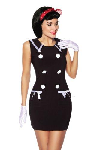 Schwarz Weißes Marine-Kleid mit Knöpfen Vinatge Marine Look Kleid Retro Kleid