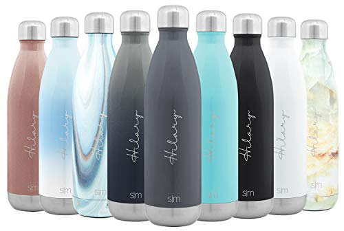 Simple Modern Personalized 25oz Custom Wave Water Bottle - Gifts for Men & Women Custom Laser Engraved Name - Double Wall Vacuum Insulated - Leakproof -Slate