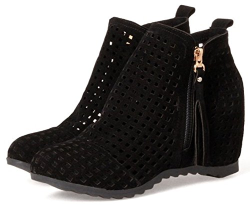 Easemax Women's Trendy Round Toe Side Zip Up High Wedge Heels Short Ankle High Martin Boots Black eHXYLfA