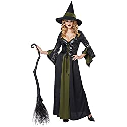 California Costumes Women's Classic Witch Long Dress, Black/Green, X-Large