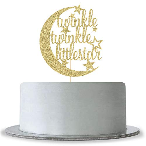 Gold Glitter Twinkle Twinkle Little Star Cake Topper for Baby Shower,Gender Reveal,Baby 1st 2nd Birthday Party Decorations Supplies