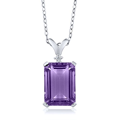 Gem Stone King Purple Amethyst and White Diamond 925 Sterling Silver Pendant Necklace 6.52 Cttw With 18 Inch Silver Chain