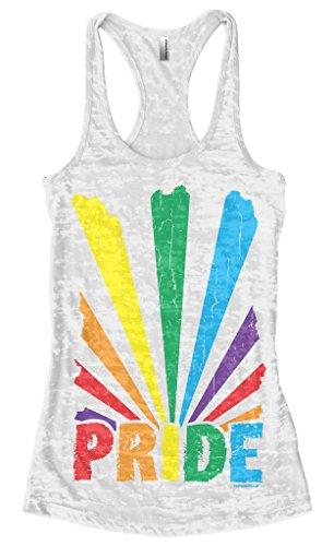 - Threadrock Women's Gay Pride Rainbow Sunray Burnout Racerback Tank Top L White