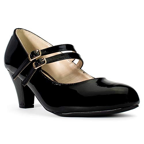 Women's Wide Fit Mary Jane Chunky Heel Dress Pumps (True Wide Width) (True Wide Width) Black Patent (7)