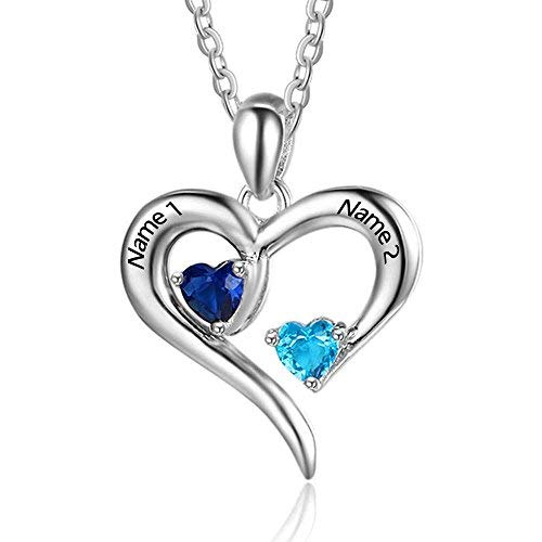 Personalized 2 Names Simulated Birthstones Necklaces 2 Couple Hearts Name Engraved Pendants for Women (Silver)