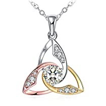 Mothers Day Gift Necklace, 925 Sterling Silver 3A Cubic Zirconia Pendant Necklace J.Rosée Fine Jewelry for Women Whirlwind Romance, 18+2Extender