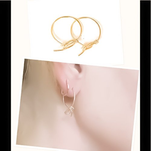 Unique Upside Down Hoop Earrings in 14K Yellow/Rose Gold Petite Small 3/4