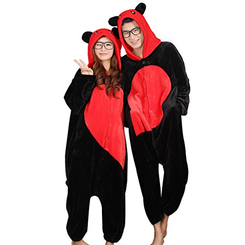 Cartoon Couples Costumes (IDGIRL Adults Flannel Romper lovers' pijamas Man and Women Cartoon Sleepwear one piece)