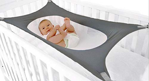 Baby Hammock for Crib, Mimics Womb, Bassinet Hammock, Comfortable Breathable Net, Upgraded Safety Measures, Newborn Infant Nursery Bed- Grey