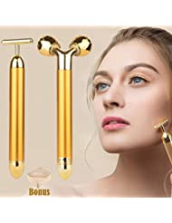 2-IN-1 Beauty Bar 24k Golden Pulse Facial Face Massager,Electric 3D Roller and T Shape Arm Eye Nose Head Massager Instant Face Lift,Anti-Wrinkles,Skin Tightening,Face Firming, Valentine's Day Gift