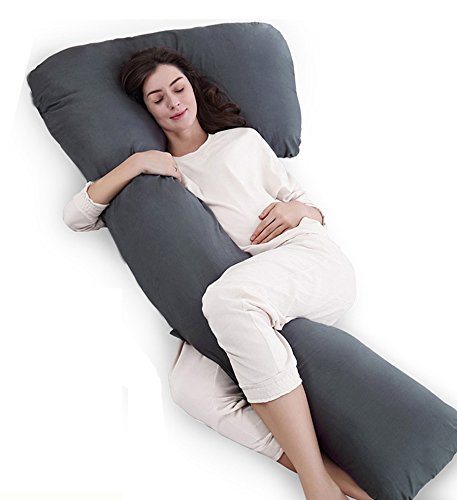 QUEEN ROSE Total Body Support Pillow with Adjustable Filling,Easy Zipper on-off,Hypoallergenic Pillow Cover(Grey)