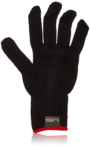 HSI Professional Heat Resistant Glove for Curling and flat iron. Black and red