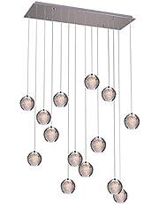 KJLARS Hanglamp Led Moderne Kroonluchters Kristallen Plafondlampen In Hoogte Verstelbare Kroonluchter Geschikt Voor Woonkamer Eettafel Trap Slaapkamer Plafondlamp 14 lampen rechthoek