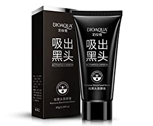 Bioaqua Blackhead Remover Mask Cleansing Black Mask Facial Peel Off Mask with Charcoal (60 ml) - Anti Blackhead, Acne and Strawberry Nose
