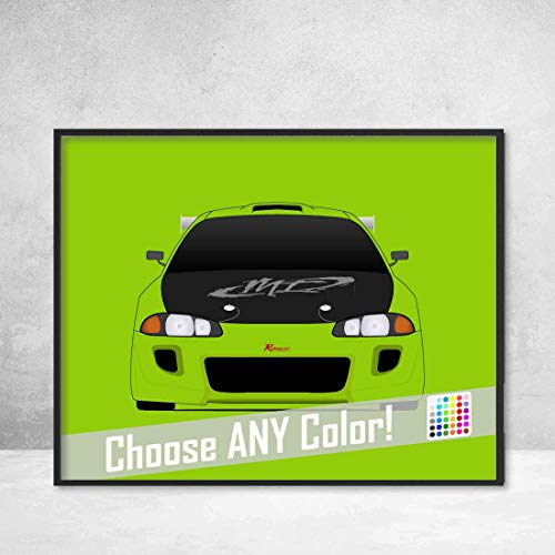 Drift Eclipse Mitsubishi - Mitsubishi Eclipse from the Fast and the Furious Brian O'Connor (Paul Walker) 2G Eclipse Fast and Furious Art Poster Print Wall Art Decor Handmade