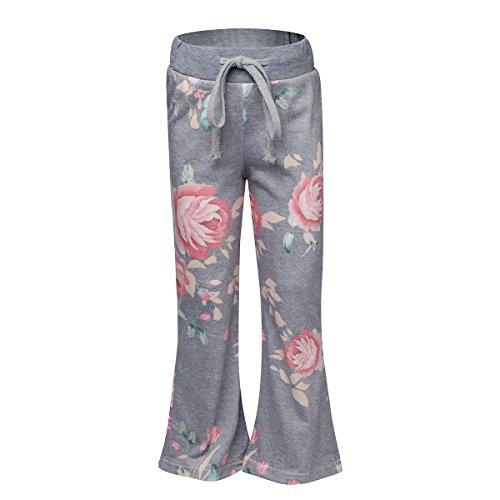 Sunfung Girls Casual Floral Print Drawstring Palazzo Pajama Wide Leg Lounge Oversized Flower Flare Pants (XL(9-10T), Gray)